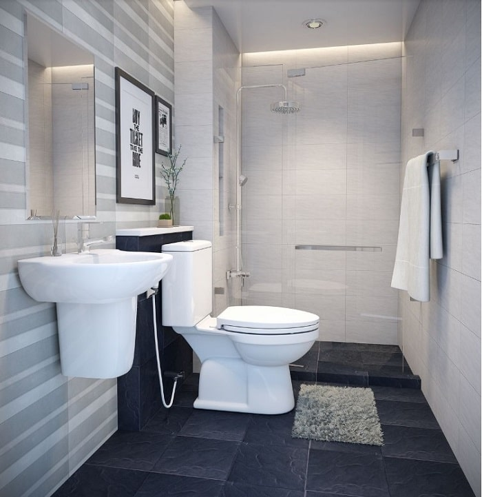 Ngăn nhà vệ sinh với phòng tắm bằng kính